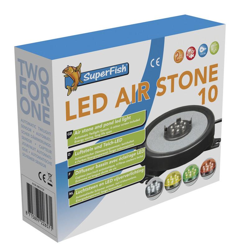 Superfish Ausströmerscheibe mit LED Beleuchtung LED Air Stone 100 mm für 9 mm Schlauch